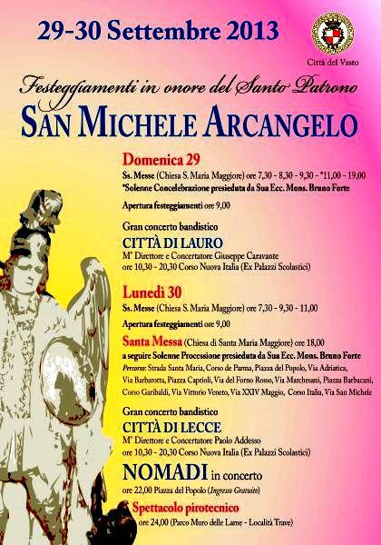 Il programma della Festa di San Michele Arcangelo a Vasto